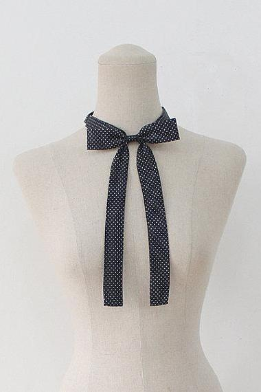 FREE SHIPPING,Dot ribbon tie,Dot neck tie for woman,wedding,Dot,Ribbontie,Skiny ribbon tie