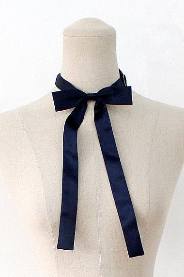FREE SHIPPING,Navy ribbon tie,Navy neck tie for woman,wedding,Big ribbon,Ribbontie,Navy,Skiny ribbon tie