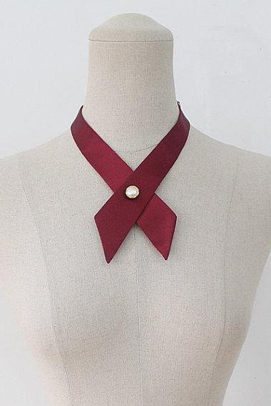 FREE SHIPPING,Wine crosstie,necktie,Navy neck tie for woman,wedding