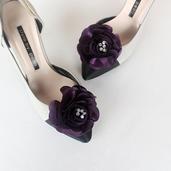 Detachable deep purple Bridal Shoe Clips,Shoe Clips,purple,Wedding Clips, Bridal Shoe Accessories,wedding shoes corsage,Ultraviolet