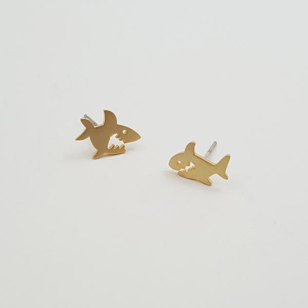 Cute Shark Shaped Stud Earrings in Gold | Minimalist Animal Jewelry